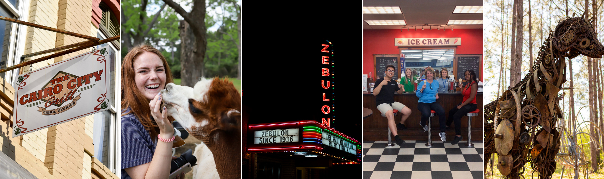 The Cairo City Grill sign hangs off a wall downtown; a student laughs feeding a llama; Zebulon Theatre marquee sign at night; students and community members smile in front of an ice cream counter; an iron horse statue