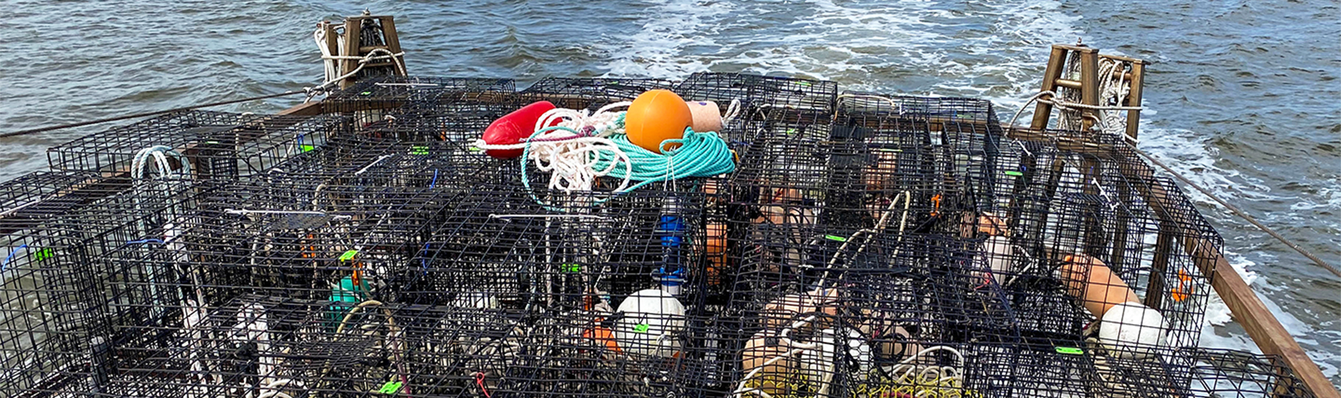 Ropeless fishing gear on the deck of a boat