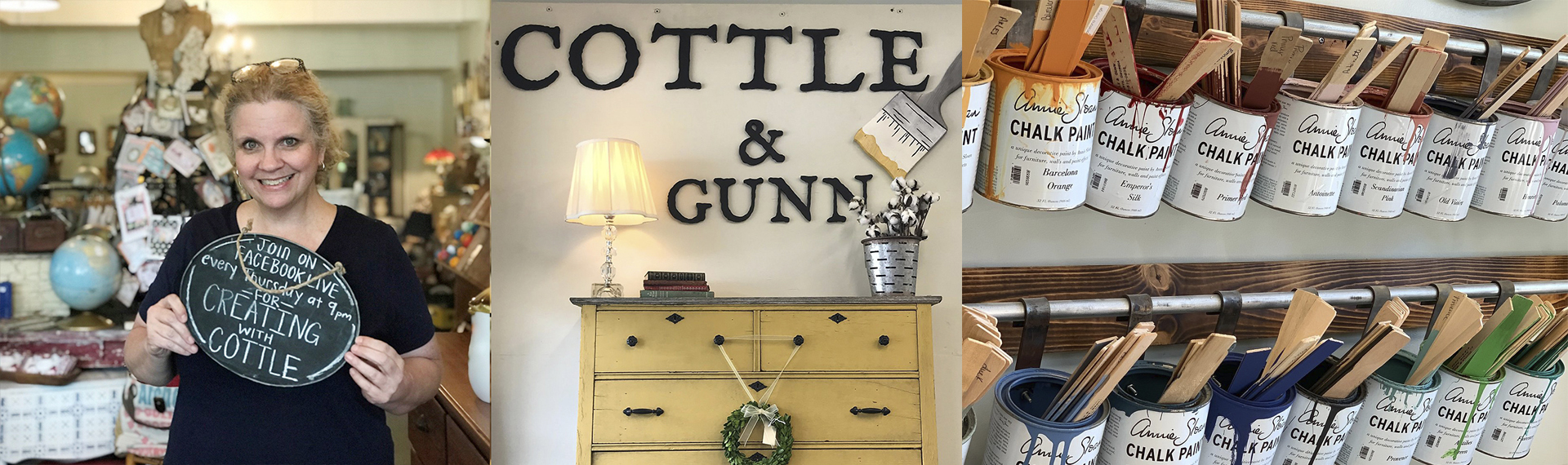 Three images showing Cottle & Gunn owner Deborah Cottle along with a sign of her store and buckets of paint