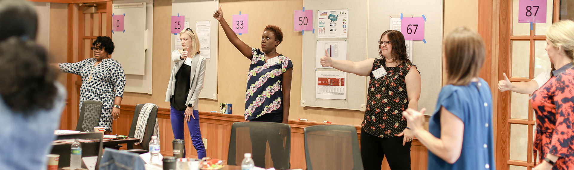 Women stand in front of a class giving thumbs up or thumbs down signs are part of a leadership development session.