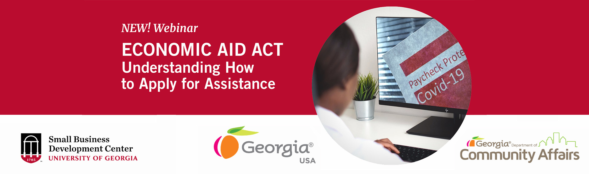 A graphic image promoting UGA SBDC's assistance understanding and applying for federal relied funding