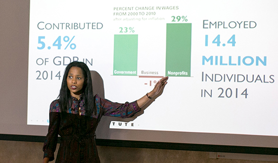 Shena Ashley, director of the Center on Nonprofits and Philanthropy at the Urban Institute speaks at 2017 ELPNO.