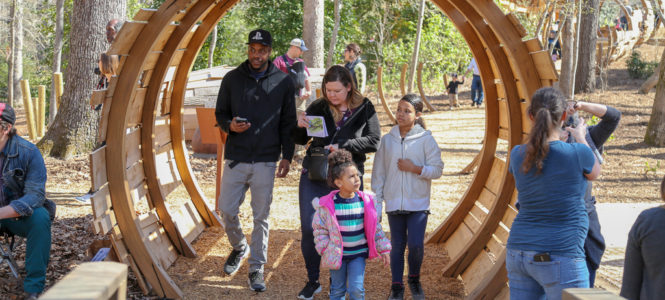 Enter through the giant chestnut tree portal to the forest play area.