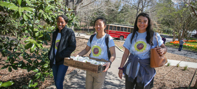UGA students served as volunteers at the Alice H. Richards Children's Garden grand opening.