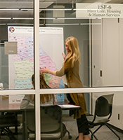 Sarah Jackson points at the picture of a map in a glass office. Another person sits at the table.