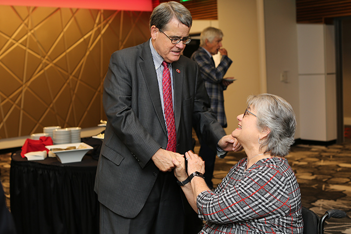Louise Hill with UGA President Jere Morehead