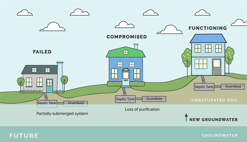 Graphic showing how septic tanks are affected by rising sea levels.