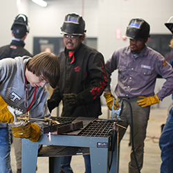 Thomson High School students learning how to weld in the school's new training program.