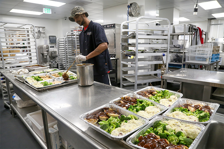 Meals for the Campus Kitchen project are prepared at the UGA Center for Continuing Education & Hotel kitchen.