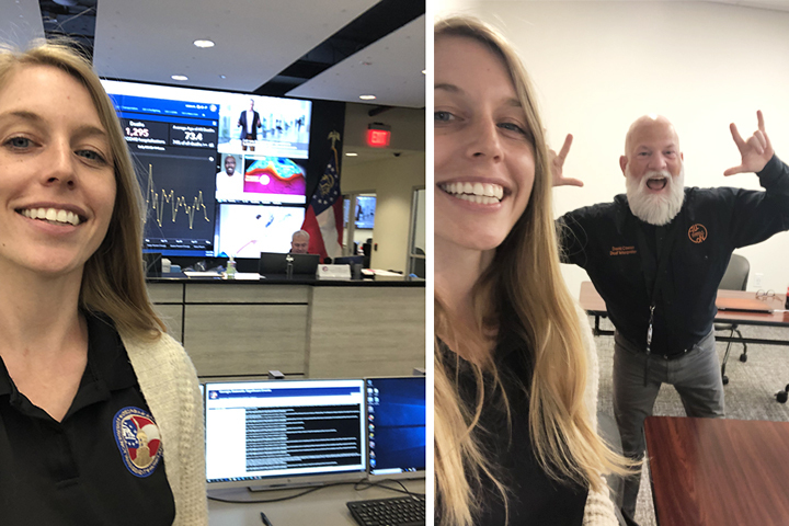 Two selfie pictures showing Sarah Jackson at work