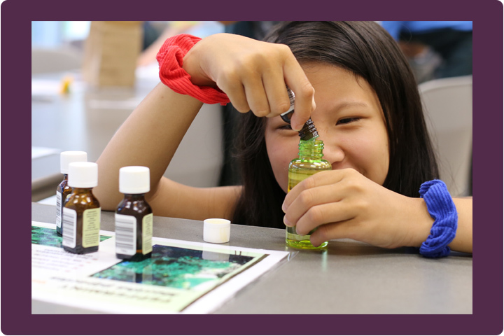 A young girl experiments with herbs during summer camp.