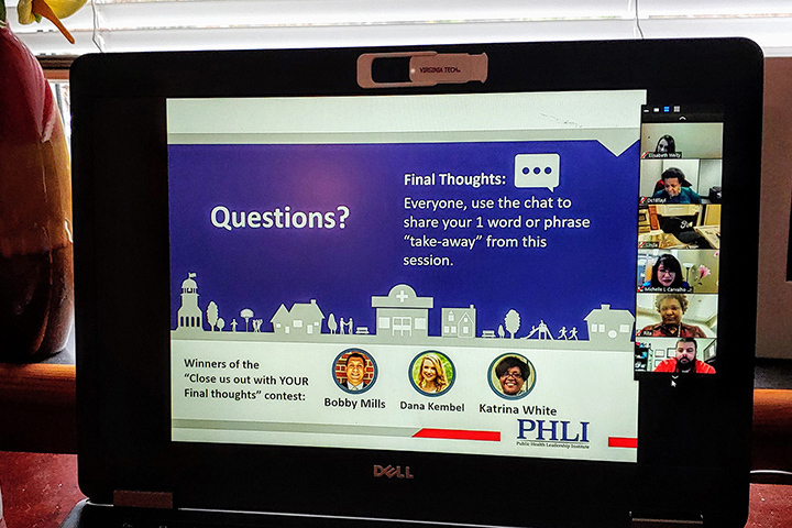A laptop screen showing a virtual meeting