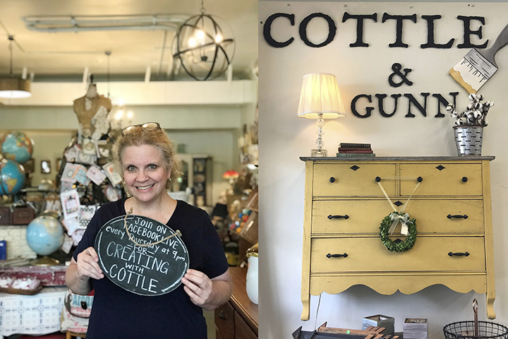 Two side-by-side pictures showing Debora Cottle and a logo of her store Cottle & Gunn