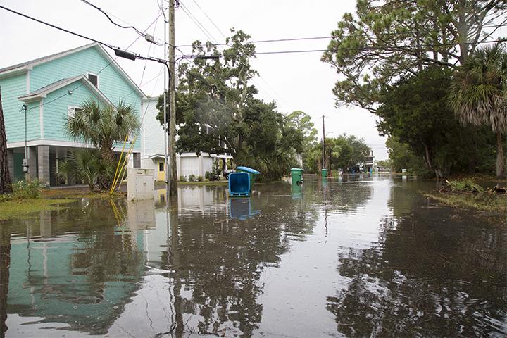 A flooded street on Tybee Island, GA.