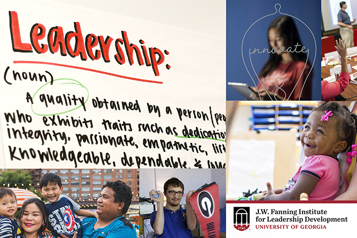 A photo collage showing children and leadership images.