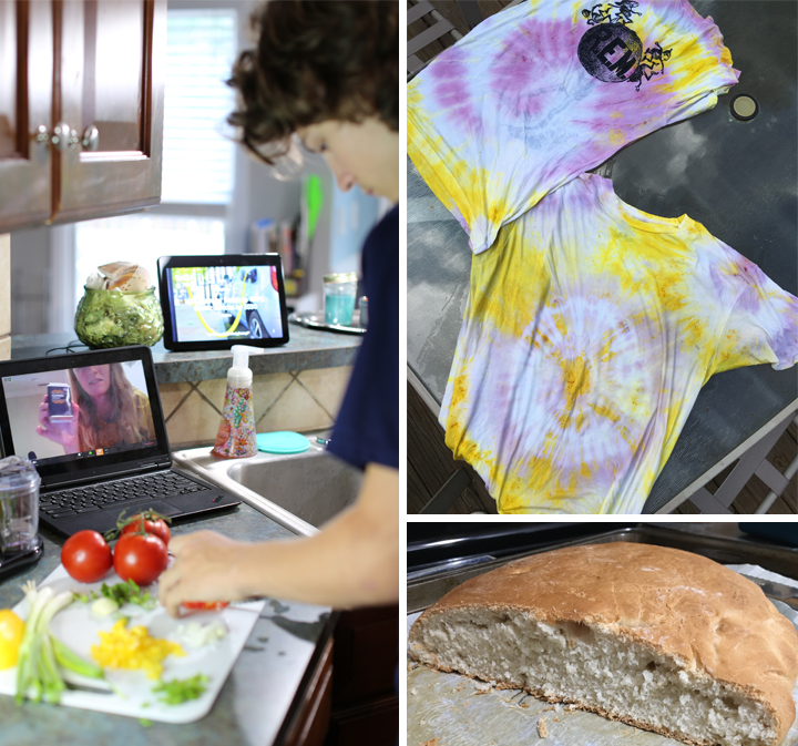 A photo collage showing a summer camp student cutting vegetables, a tie-dyed shirt, and a loaf of bread.