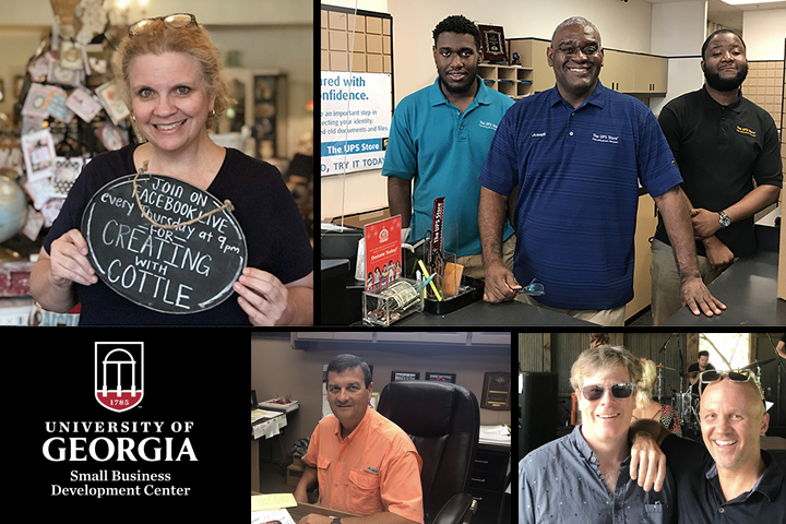 A photo collage showing Georgia businesses who received help from the UGA SBDC during the pandemic.