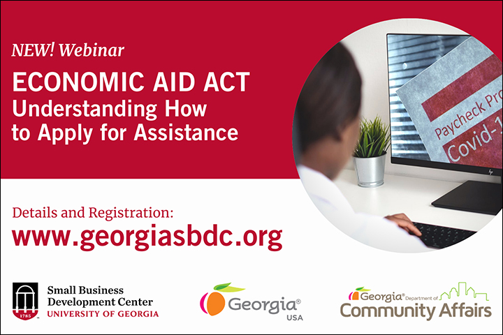 A graphic describing UGA SBDC help on the Economic Aid Act