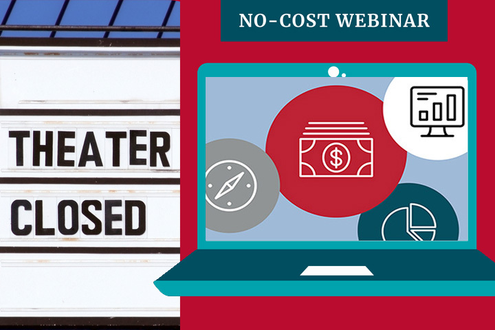 A graphic advertising the SBDC's no-cost webinars