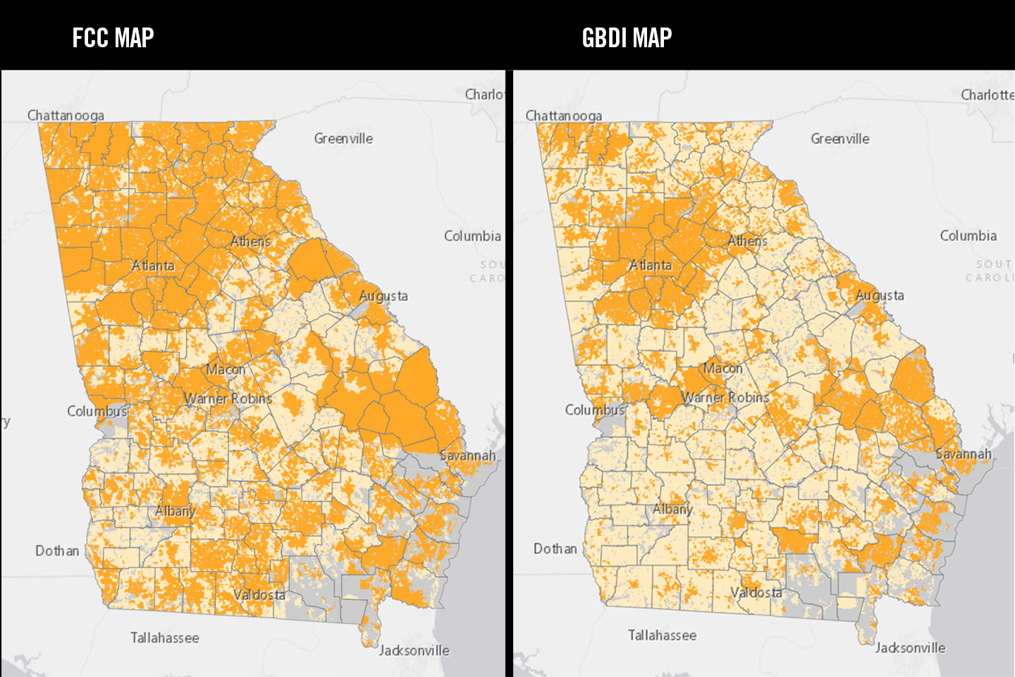 A graphic showing the perceived broadband availability using FCC data on the left, and the new GBDI map on the right.