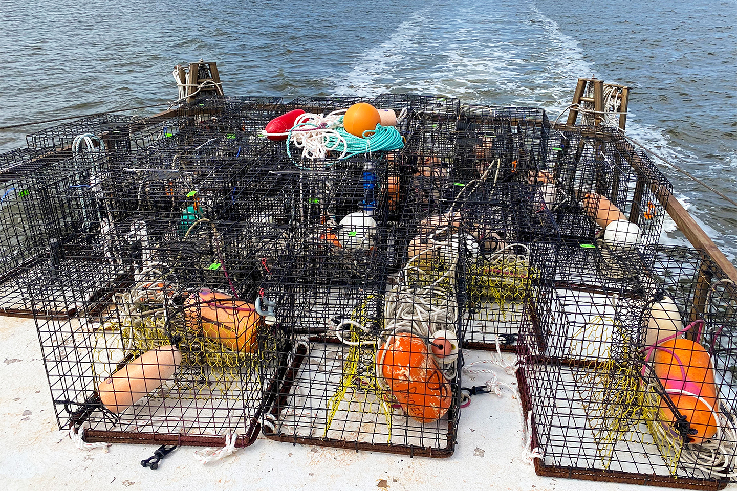 Ropeless fishing pods on the deck of a boat