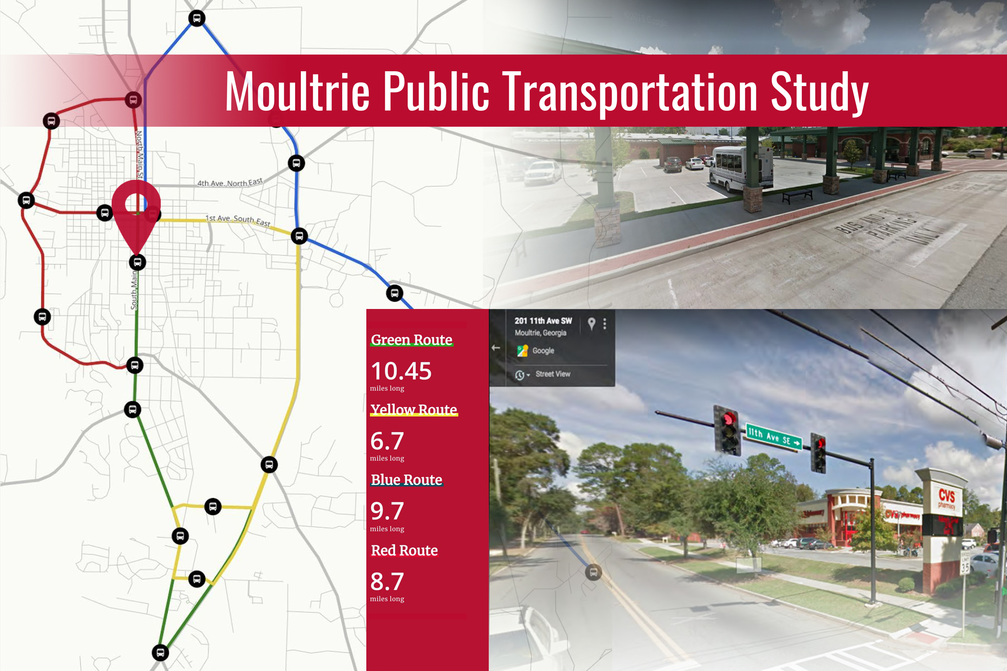 A graphic showing parts of the Moultrie Public Transportation Study