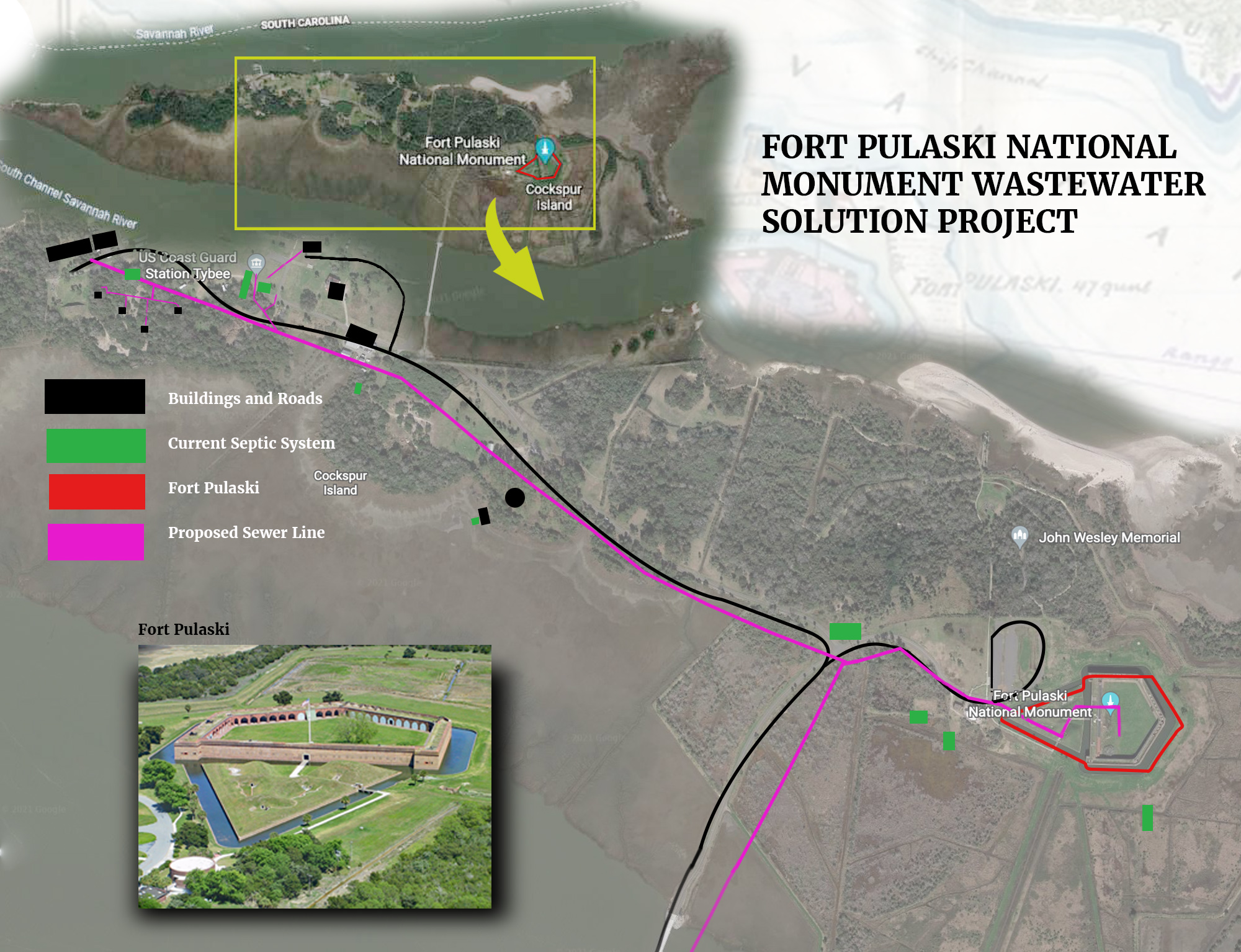 A map showing the wastewater pipe proposed by UGA student group.